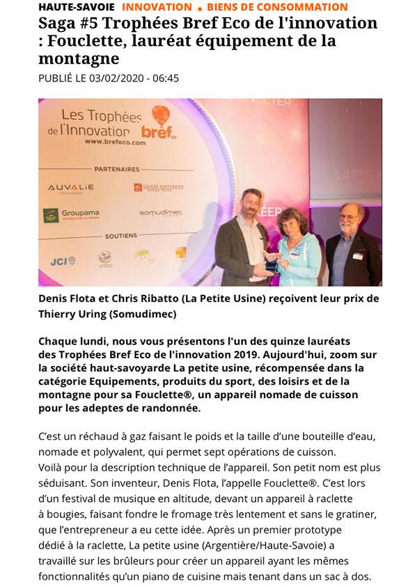 Le réchaud Fouclette reçoit le trophée bref eco de l'innovation