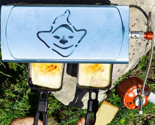 Raclette gratinée avec Fouclette le réchaud portatif multifonctions en plein air