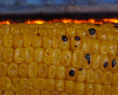Épis de maïs grillé avec le pic à grillade du fouclette multifonctions en mode bbq