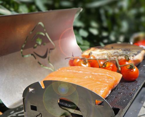 Recette de saumon saisi à la plancha du Fouclette en pleine nature en weekend